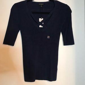 Navy Blue short sleeved sweater
